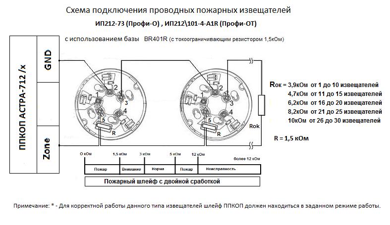 Схема подключения дымовых ИП